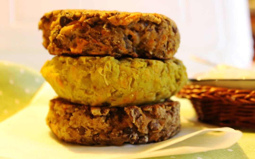 Burgers vegetali (lenticchie, piselli e ceci)